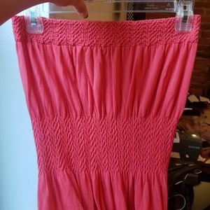 One Size Bright Red Strapless Maxi Dress